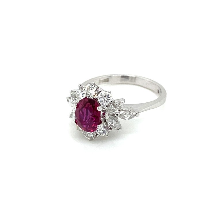 Estate Certified Unheated Ruby Diamond Ring For Sale 2