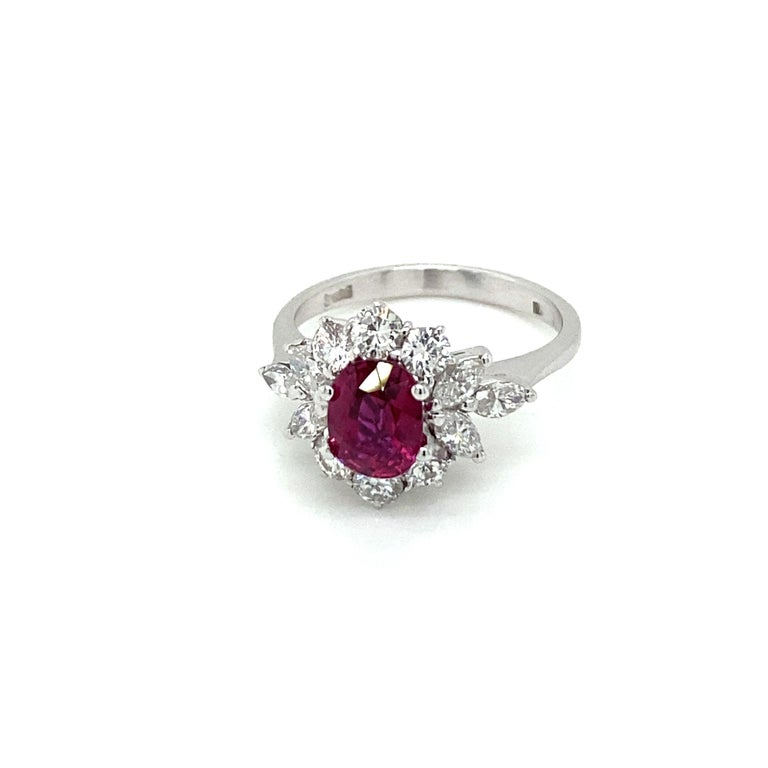 Estate Certified Unheated Ruby Diamond Ring For Sale 3