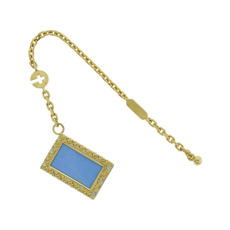 Estate Chaumet Two-Tone 18k Yellow and White Gold Photo Key Chain Holder Pendant For Sale