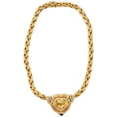 Estate Chopard Yellow Sapphire Heart, Diamond, and Blue Sapphire Necklace