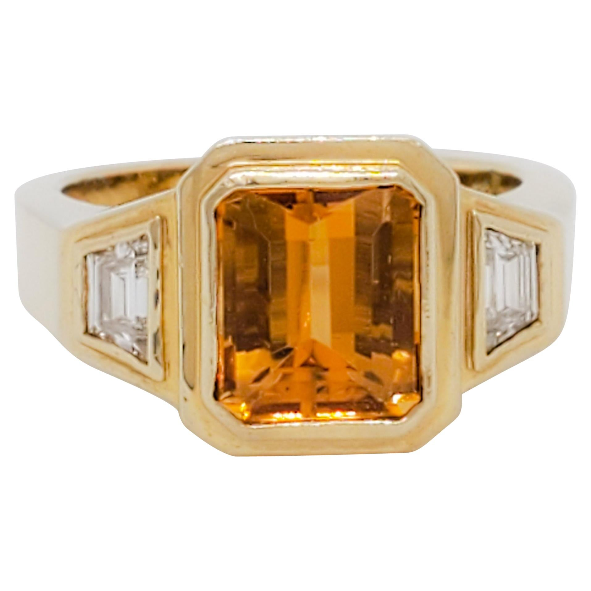 Estate Citrine and Diamond Three Stone Ring in 14k Yellow Gold
