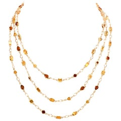 Estate Citrine Garnet Gold Wrap Long Chain Necklace