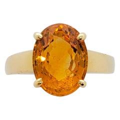 Estate Citrine Oval Ring in 18 Karat Yellow Gold