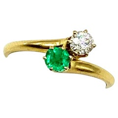 Estate Classic Diamond and Emerald Two-Stone Forever Us 18k Yellow Gold Ring