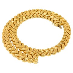 "Estate Collar Leaf ""V"" Chevron Chain Necklace 14K Yellow 47.98 Grams"