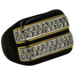 Estate Collection Diamond and Black Enamel Ring