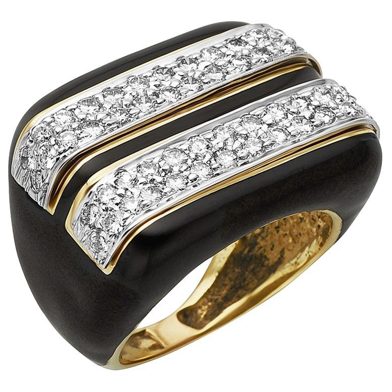 18 Karat Gold Diamond and Black Enamel Ring