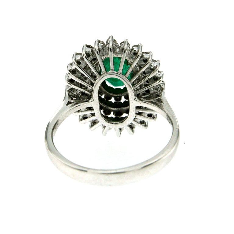 Women's Estate Colombian Emerald Diamond Gold Cluster Ring For Sale