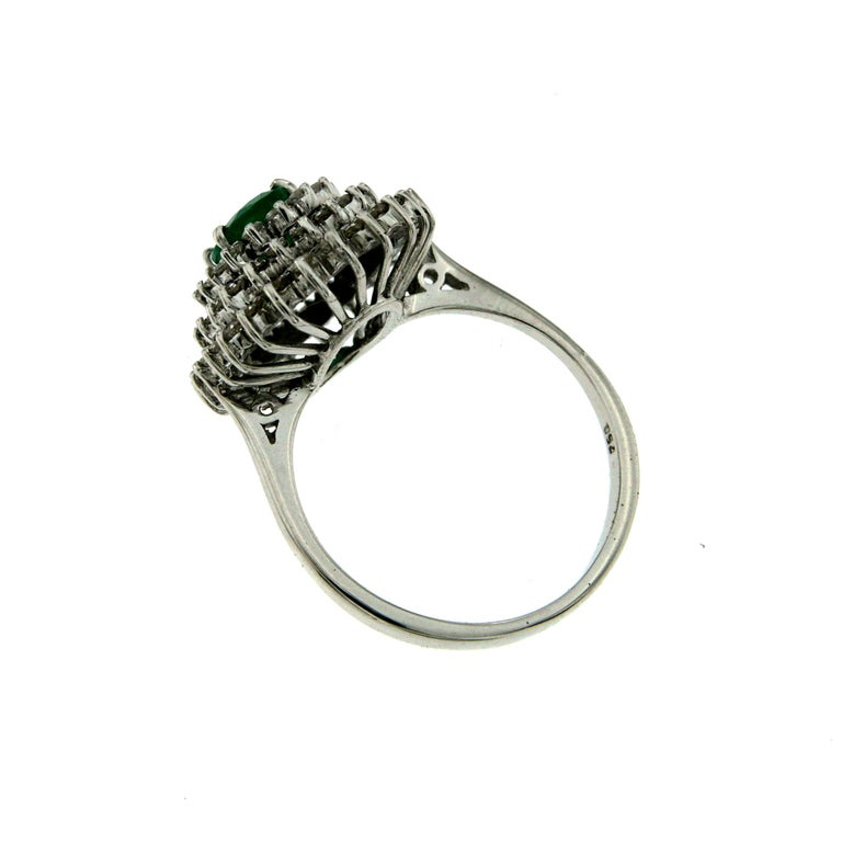 Estate Colombian Emerald Diamond Gold Cluster Ring For Sale 1