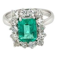 Estate Colombian Emerald Diamond Ring