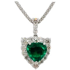 Estate Colombian Emerald Heart Shape and White Diamond Pendant Necklace