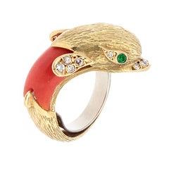 Estate Coral Diamond Emerald Gold Dolphin Ring