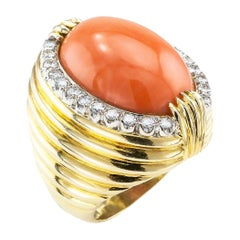 Estate Coral Diamond Yellow Gold Cocktail Ring Size 8