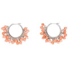 Estate Coral Fringe Earrings Hoops 18 Karat White Gold Estate Fine Jewelry