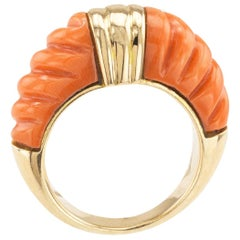 Estate Coral Gold Ring Band