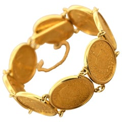 Estate Cuban Peso Gold Coin Bracelet
