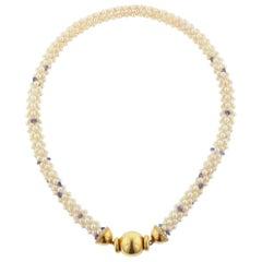 Estate Cultured Pearl Sapphire Bead Diamond Yellow Gold Choker Necklace