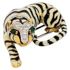 Estate David Webb Diamond, Emerald, and Enamel Tiger Brooch in 18k Gold