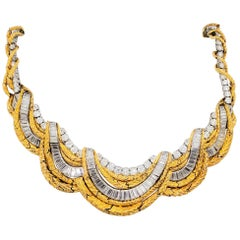 Estate David Webb White Diamond and 18 Karat Yellow Gold Necklace