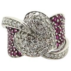 Estate Designer Ariel Gordon 14 Karat Gold Pave Heart Ruby and Diamond Ring