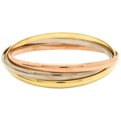 Estate Designer Cartier 18 Karat 3-Tone Gold Trinity Bangle Bracelets