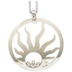 Estate Designer Chopard Happy Diamond Sun 18 Karat White Gold Necklace
