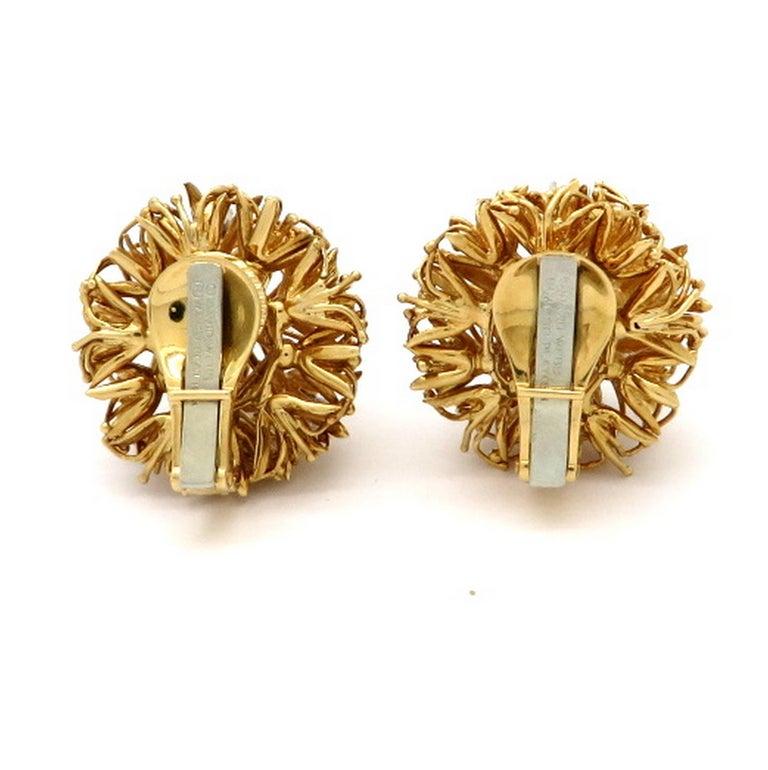 Estate Designer David Webb 18 Karat and Platinum Dandelion Diamond Earrings For Sale 1