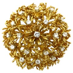 Estate Designer David Webb 18K Yellow Gold and Platinum Dandelion Flower Brooch