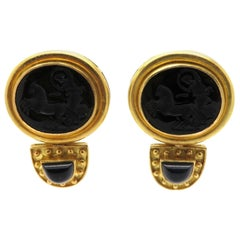 Estate Designer Elizabeth Locke Black Venetian Glass Intaglio 18 Karat Earrings