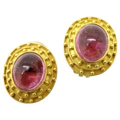 Estate Designer Elizabeth Locke Pink Tourmaline Oval Etruscan Cabochon Earrings