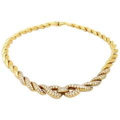 Estate Designer Fred Paris 6.50 Carat Diamond 18 Karat Yellow Gold Necklace