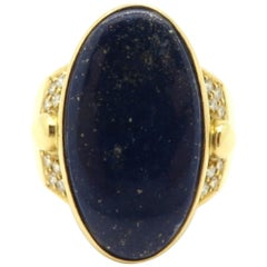 Estate Designer H. Stern Lapis Lazuli Cabochon Oval and Diamond Ring 18K YG