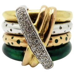 Estate Designer La Nouvelle Bague 4-Row Tri Color Band Ring Set 18 Karat Gold