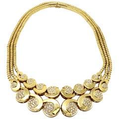 Estate Designer Paul Flato 6.00 Carat 1940s Diamond 18 Karat Gold Necklace