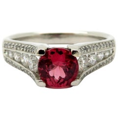Estate Designer Ritani Platinum Round Diamond & Round Brilliant Cut Spinel Ring