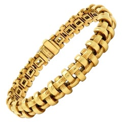 Estate Designer Tiffany & Co. 18 Karat Gold Open Basket Weave Italian Bracelet
