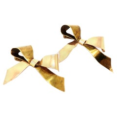 Estate Designer Tiffany & Co. Retro Style 14 Karat Two-Tone Gold Set of Bow Pins