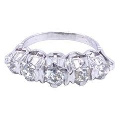 Estate Diamond 1.50 Carat Five-Stone Gold Ring