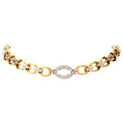 Estate Diamond 18 Karat Yellow Gold Chain Link Cluster Collar Necklace