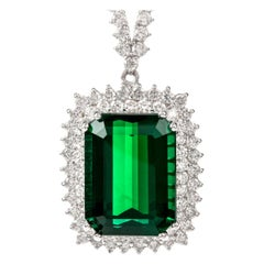 Estate Diamond 21.50 Carat Green Tourmaline 18 Karat Necklace