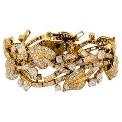 Estate Diamond and 18k Yellow Gold Cuff Bracelet