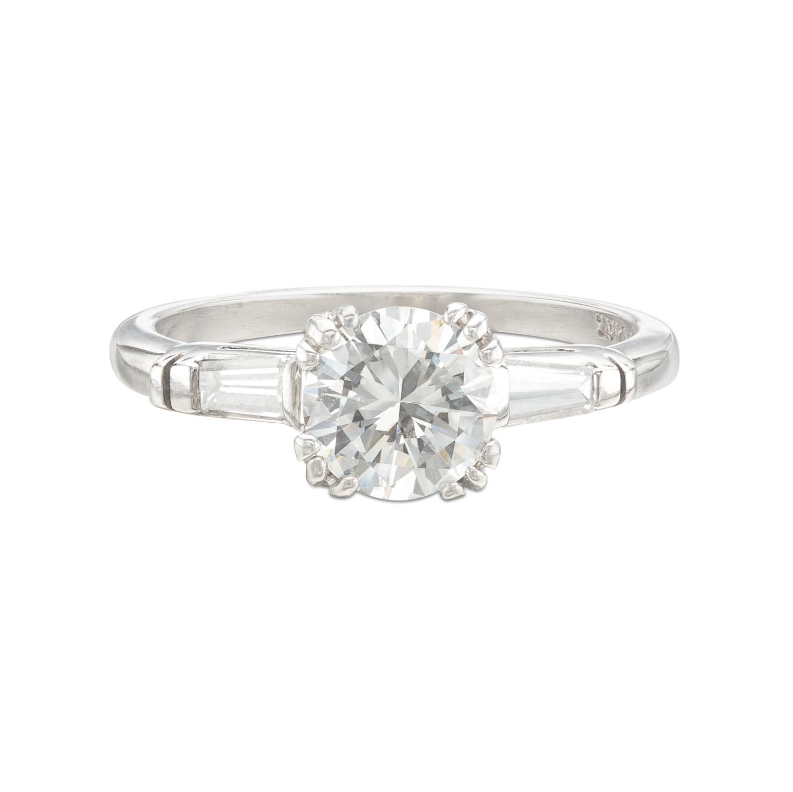 Estate Diamond and Platinum Engagement Ring