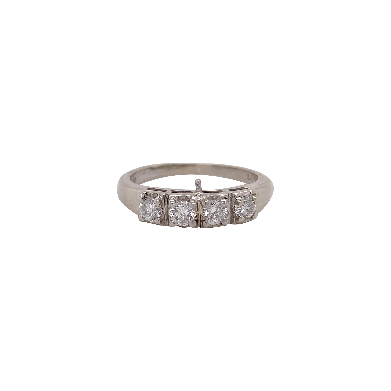 Estate Diamond Band Wide Ring, White Gold, Wedding Band, Four Diamond Ring