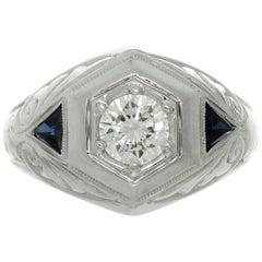 Estate Diamond Blue Sapphire White Gold Men's Ring