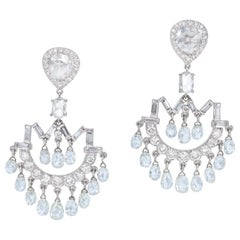 Estate Diamond Briolelle Chandelier Art Deco Style Earrings