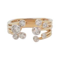 Estate Diamond Bubble Ring in 14k Yellow Gold