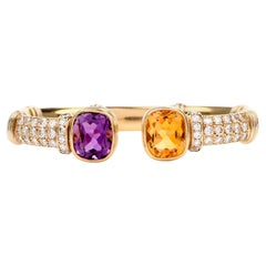 Estate Diamond Citrine Amethyst 18 Karat Cuff Bracelet