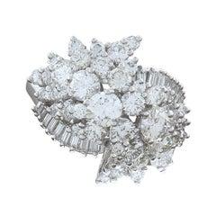Estate Diamond Cluster Platinum Ring