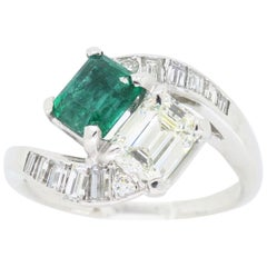 Estate Diamond and Emerald Bypass Ring in Platinum
