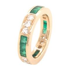 Estate Diamond Emerald Gold Band Ring